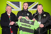Match sponsor Coles Electrical with MOM Forest Green Rovers Carl Winchester(7)  during the EFL Sky Bet League 2 match between Forest Green Rovers and Mansfield Town at the New Lawn, Forest Green, United Kingdom on 29 January 2019.