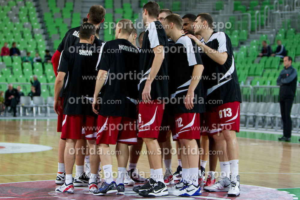 Team Sezolnoki Olaj during basketball match between KK Union Olimpija (SLO) and BC Szolnoki Olaj (HUN) in 8th Round of ABA Leaugue 2012/13 on November 11, 2012 in Arena Stozice, Ljubljana, Slovenia. (Photo By Urban Urbanc / Sportida)
