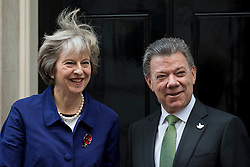 © Licensed to London News Pictures. 02/11/2016. London, UK.   Prime Minister, Theresa May greets President of Colombia, Juan Manuel Santos Calderón at Downing Street. Photo credit : Stephen Chung/LNP