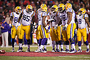FAYETTEVILLE, AR - NOVEMBER 15:  Anthony Jennings #10 of the LSU Tigers calls a play in the huddle during a game against the Arkansas Razorbacks at Razorback Stadium on November 15, 2014 in Fayetteville, Arkansas.  The Razorbacks defeated the Tigers 17-0.  (Photo by Wesley Hitt/Getty Images) *** Local Caption *** Anthony Jennings