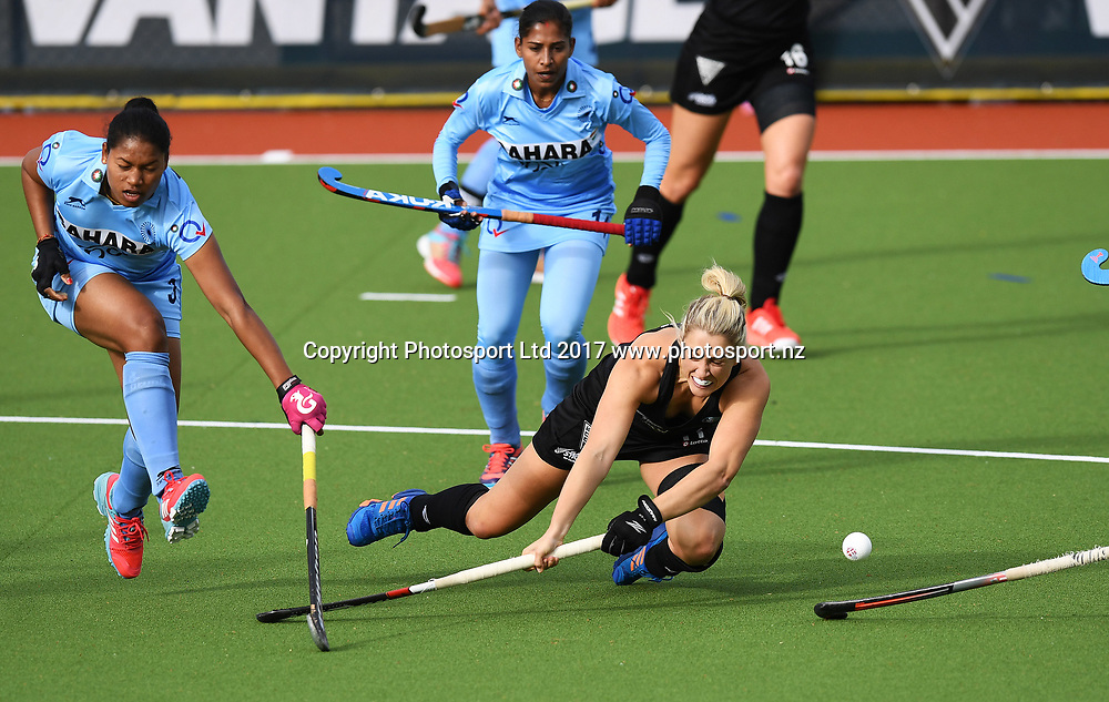 Rachel McCann dives as she takes a shot on goal.<br /> Vantage Black Sticks Women vs India. International Hockey. Gallagher Hockey Centre. Hamilton. New Zealand. Friday 19 May 2017 &copy; Copyright Photo: Andrew Cornaga / www.photosport.nz