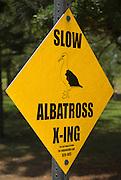 Albatross crossing sign in Princeville, Island of Kauai, Hawaii