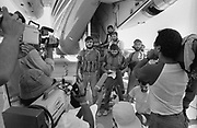 Beirut, Lebanon June 12 th 1985.Beirut airport . Armed Shiite militiamen, holding a pressconference under  a  plane of the Jordanian company Alia. Shortly after the press conference, the plane emptyed of the passengers and crew menbers, was blown-up by the hijackers comando. ©Herve Merliac