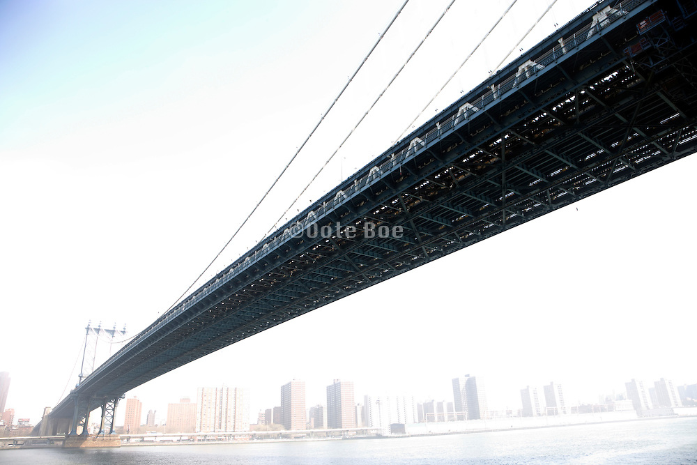 wide perspective view of Manhattan Bridge seen from the Brooklyn side looking towards uptown