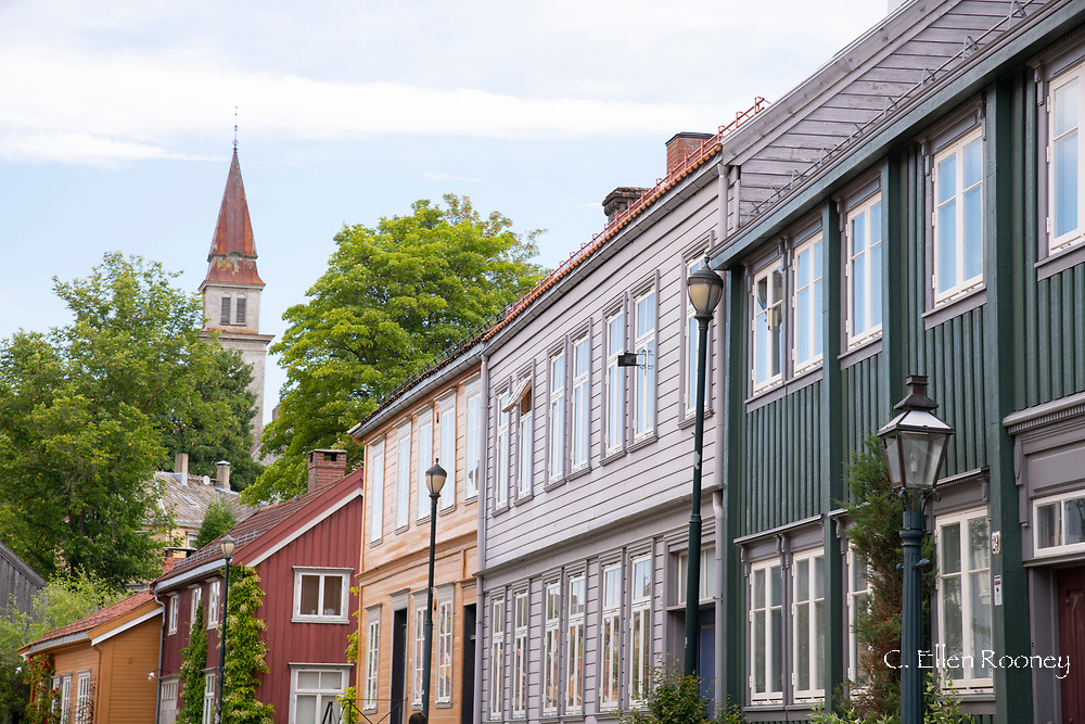A row of wooden houses in the Mollenberg district ofTronheim, Trondelag, Norway