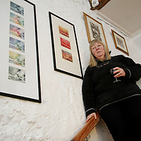 Doolin based artist Corinna Schroeder von Frihring at the Clare Printmakers exhibition in the Russell Gallery in New Quay on Saturday evening.<br /> <br /> Photograph by Yvonne Vaughan.
