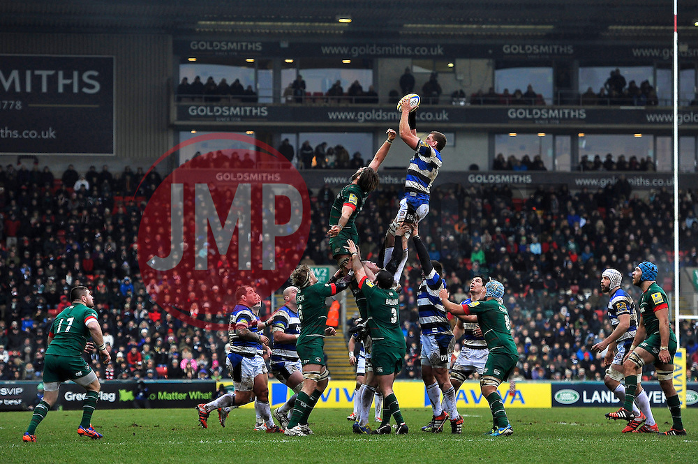 Bath Rugby captain Stuart Hooper rises high to win lineout ball - Photo mandatory by-line: Patrick Khachfe/JMP - Mobile: 07966 386802 04/01/2015 - SPORT - RUGBY UNION - Leicester - Welford Road - Leicester Tigers v Bath Rugby - Aviva Premiership