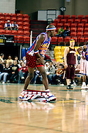 "04 May 2006: Kevin ""Special K"" Daley looses his shorts at the Harlem Globetrotters vs the New York Nationals at the Sulivan Arena in Anchorage Alaska during their 80th Anniversary World Tour.  This is the first time in 10 years that the Trotters have visited Alaska."