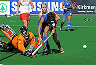 Save by Bianca RUSSELL New Zealand goalkeeper from Jasbeer SINGH of Italy during the BDO Womenís Championship Challenge match between New Zealand and Italy held at the Hartleyvale stadium in Cape Town, South Africa, 14 October 2009