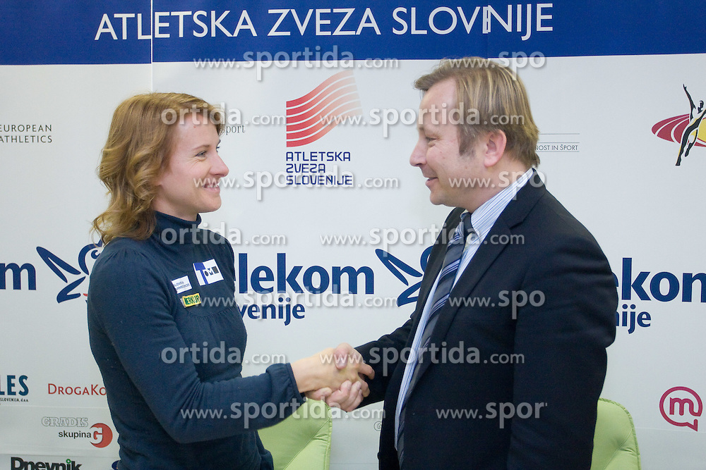 Brigita Langerholc and Peter Kukovica when Slovenian athletes and their coaches sign contracts with Athletic federation of Slovenia for year 2009,  in Ljubljana, Slovenia, on March 2, 2009. (Photo by Vid Ponikvar / Sportida)