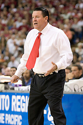 March 27, 2010; Sacramento, CA, USA; Georgia Bulldogs head coach Andy Landers during the first half against the Stanford Cardinal in the semifinals of the Sacramental regional in the 2010 NCAA womens basketball tournament at ARCO Arena.  Stanford defeated Georgia 73-36.