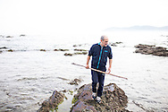 Michelin star chef Paco Perez of Miramar uses the traditional garotor to harvest sea urchin. Llanca, Costa Brava, Spain
