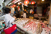 Hong Kong. Central street market. Fish and seafood.