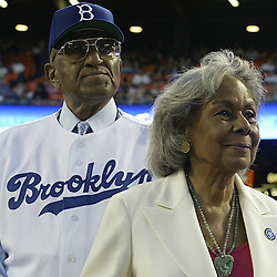 Dodger great Don Newcombe and Jackie Robinson's wife Rachel during the pregame ceremonies in honor of Dodger great and hall famer Jackie Robinson. San Diego Padres vs the Los Angeles Dodgers at Dodger Stadium April 15. 2005. Dodgers wore 1950's Brooklyn Dodgers uniforms.<br /> (SGVN Staff Photo Keith Birmingham/SXSports)