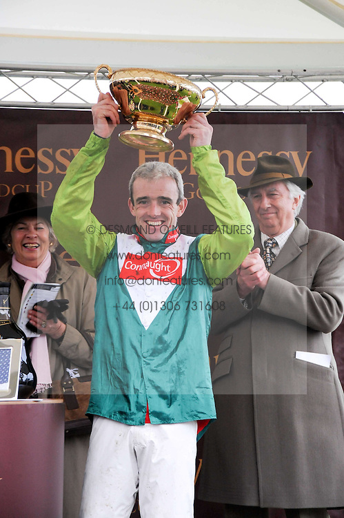 Jockey Ruby Walsh winning rider on Denman - winner of the Hennessy Gold Cup 2009 at the Hennessy Gold Cup 2009 held at Newbury Racecourse, Berkshire on 28th November 2009.