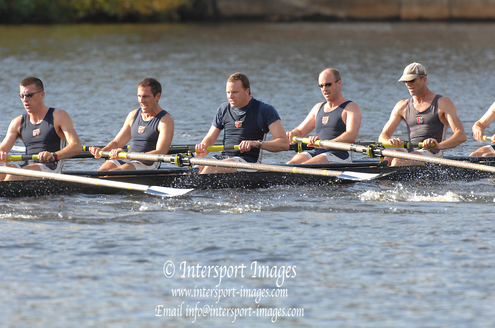 Boston, USA, Master Men's eights, London RC, approaching the John Weeks Bridge during the Head of the Charles, Race Charles River,  Cambridge,  Massachusetts. Saturday  20/10/2007 [Mandatory Credit Peter Spurrier/Intersport Images]..... , Rowing Course; Charles River. Boston. USA
