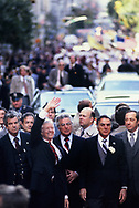 Jimmy Carter walking in New York parade on October 13, 1980.<br /> by Dennis Brack