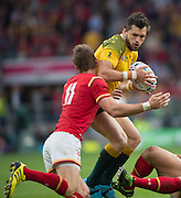 Twickenham, Great Britain,  Adam ASHLEY-COOPER collects the loose ball, during the Pool A game, Australia vs Wales.  2015 Rugby World Cup,  Venue, Twickenham Stadium, Surrey, ENGLAND.  Saturday  10/10/2015.   [Mandatory Credit; Peter Spurrier/Intersport-images]