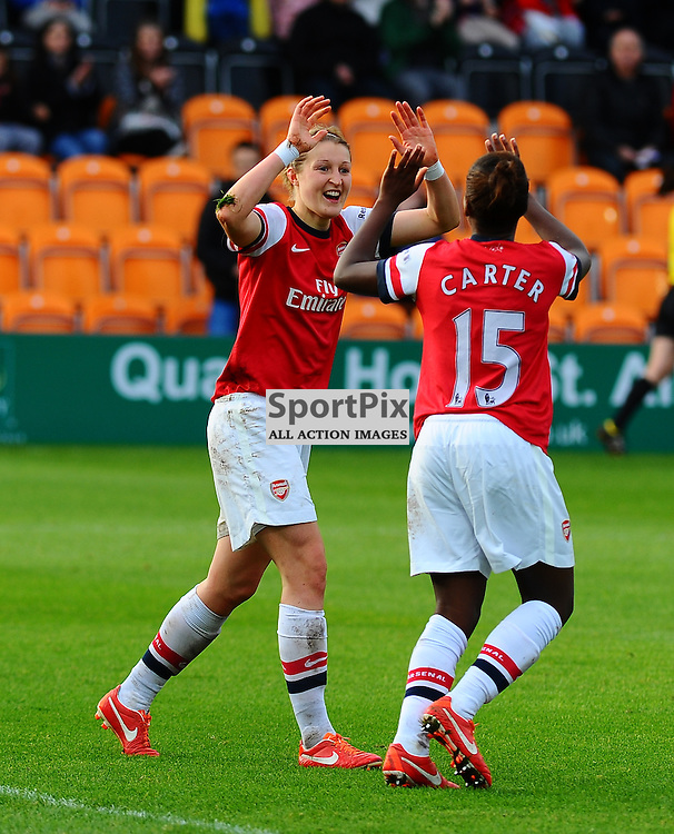 Ellen White (ARS) and Danielle Carter (ARS) celebrate as Arsenal Ladies play Glasgow City Ladies in the UEFA Women's Champions League Round of 16 match at The Hive, Barnet FC on Sat 9 November 2013 (c) Ian Nancollas | SportPix.org.uk