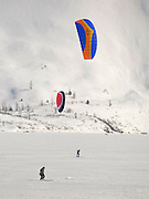 Alaska. Kite Skiing on Portage Lake, Chugack National Forest.