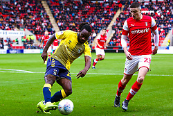 Fankaty Dabo of Coventry City gets the ball away from Jake Hastie of Rotherham United - Mandatory by-line: Ryan Crockett/JMP - 13/07/2019 - FOOTBALL - Aesseal New York Stadium - Rotherham, England - Rotherham United v Coventry City - Sky Bet League One
