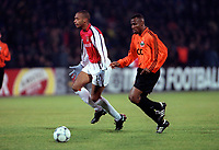 Thierry Henry shows his frustration after an off-side decision, Isaac Okoronkwo (Shakhtar Donetsk) . Shakhtar Donetsk 3:0 Arsenal, UEFA Champions League, Group B, Centralny Stadium, Donetsk, Ukraine, 7/11/2000. Credit Colorsport / Stuart MacFarlane.