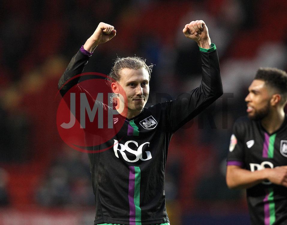 Luke Freeman of Bristol City celebrates the victory over Charlton Athletic - Mandatory byline: Robbie Stephenson/JMP - 06/02/2016 - FOOTBALL - The Valley - Charlton, England - Charlton Athletic v Bristol City - Sky Bet Championship