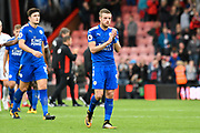Jamie Vardy (9) of Leicester City applauds the travelling fans at full time after a 0-0 draw during the Premier League match between Bournemouth and Leicester City at the Vitality Stadium, Bournemouth, England on 30 September 2017. Photo by Graham Hunt.