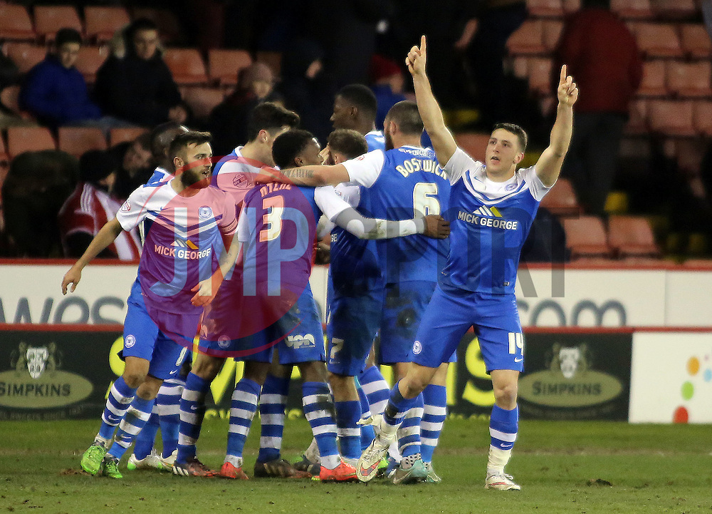 Peterborough United's Connor Washington celebrates scoring the winning goal - Photo mandatory by-line: Joe Dent/JMP - Mobile: 07966 386802 - 03/03/2015 - SPORT - Football - Sheffield - Bramall Lane - Sheffield United v Peterborough United - Sky Bet League One