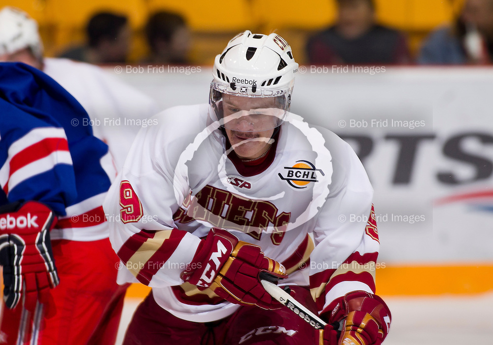 04 October  2011: Derek Huisman (9) of the Chiefs    during a game between the Chilliwack Chiefs and the Prince George Spruce Kings.  Prospera Centre, Chilliwack, BC.    Final Score: Chilliwack 4  Prince George 3   ****(Photo by Bob Frid/Freemotionphotography.ca) All Rights Reserved : cell 778-834-2455 : email: bob.frid@shaw.ca ****