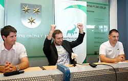 Sports director Roman Pungartnik,  Handball goalkeeper Dejan Peric and Miha Pantelic at press conference when he signs a contract with RK Celje Lasko, on May 27, 2011 in Arena Zlatorog, Celje, Slovenia.  (Photo By Vid Ponikvar / Sportida.com)