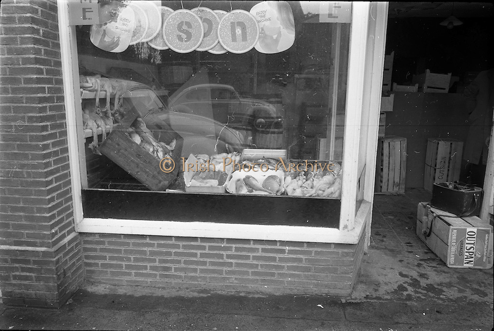 07/10/1964<br /> 10/07/1964<br /> 07 October 1964<br /> Charlie Morton's Fish Shop at Dunville Avenue, Ranelagh, Dublin. Exterior view of window display of fish and fowl.