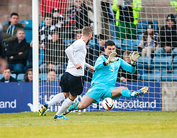 Falkirk's Rory Loy misses a chance against Dundee's keeper Kyle Letheren. Dundee 1 v 1 Falkirk, Scottish Championship game at Dundee's home ground Dens Park.