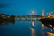 Popular tourist destination moonlit Kinsale harbour, in County Cork, Ireland