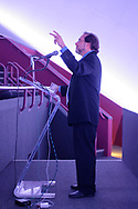 Garden City, New York, USA. May 23, 2019. ANDREW CHAIKIN, best-selling author of A Man on the Moon: The Voyages of the Apollo Astronauts, talks in the JetBlue Sky Theater Planetarium about growing up on Long Island during the Apollo space program and interviewing Apollo astronauts. The HBO miniseries From the Earth to the Moon was mainly based on Chaikin's book. Event was part of the Cradle of Aviation Museum celebration of 50th Anniversary of Apollo 11.