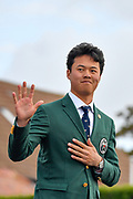 Brandon Wu (USA) waves to the crowds during the Walker Cup Opening Ceremony, Friday at the Royal Liverpool Golf Club, Friday, Sept 6, 2019, in Hoylake, United Kingdom. (Steve Flynn/Image of Sport)