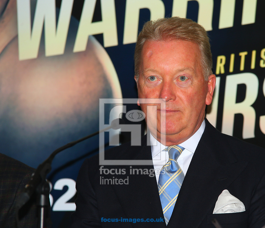 Frank Warren (Promotor) during the press conference prior to the Warrington v Ceylan IBF Featherweight World title eliminator contest at Aspire, Leeds, UK.<br /> Picture by Stephen Gaunt/Focus Images Ltd +447904 833202<br /> 04/09/2017