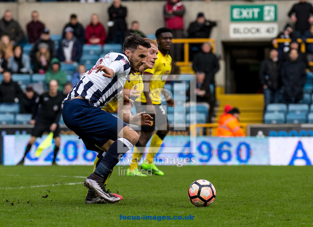Lee Gregory of Millwall during the FA Cup match at The Den, London<br /> Picture by Liam McAvoy/Focus Images Ltd 07413 543156<br /> 29/01/2017