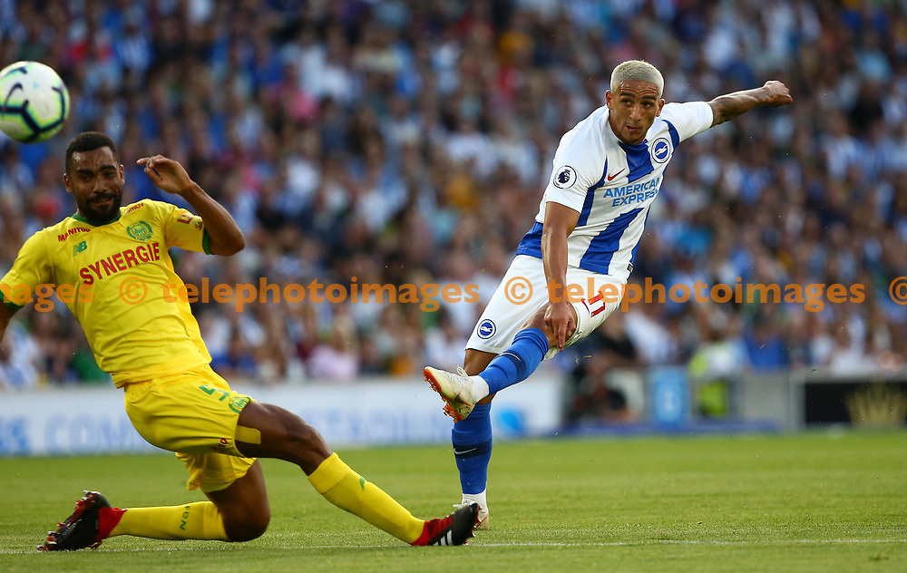 Anthony Knockaert of Brighton shoots during the pre season friendly between Brighton and Hove Albion and FC Nantes at the American Express Community Stadium in Brighton. 03 Aug 2018