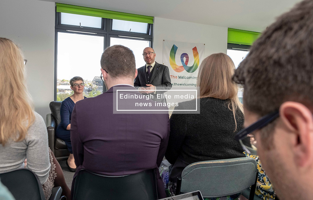 Pictured: Maggie Chapman and Patrick Harvie rally their EU ele4ction candidates.<br /><br />The Scottish Greens unveiled their list of candidates for the forthcoming EU election in Edinburgh today.<br /><br />The party's Co-Convenor Patrick Harvie MSP introduced the lead candidate, Maggie Chapman, and announced the full list at the Welcoming Association's HQ.  Mr Harvie and Ms Chapman took the opportunity to meet with EU citizens who are new to Edinburgh and learning English at the centre.<br /><br />The full list is as follows:<br />1.    Maggie Chapman<br />2.    Lorna Slater<br />3.    Gillian Mackay<br />4.    Chas Booth<br />5.    Mags Hall<br />6.    Allan Faulds<br /><br />Ger Harley | EEm 25 April 2019