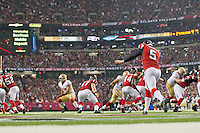 20 January 2013: Punter (5) Matt Bosher of the Atlanta Falcons punts the ball against the San Francisco 49ers during the second half of the 49ers 28-24 victory over the Falcons in the NFC Championship Game at the Georgia Dome in Atlanta, GA.