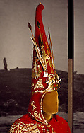 """""""The Golden Warrior,"""" A 5th Century B.C. Saka chieftain, was found splendidly preserved in 1969 in the Issiq burial mound near Almaty at the foot of the tien Shan Mountains overlooking MOunt Talgar.  His elaboriately decorated gold uniform and headdress contain a complex array of symbols representing military, political and spiritual ideas.  Dr. Kemal A. Akishev led the excavation.  Reporductions by Krym Altynebokov.  Museum of Archeology, Almaty"""