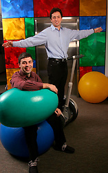MOUNTAIN VIEW, CALIF., APRIL 8, 2003--GOOGLE-- Larry Page, Co-Founder & President, Products (L ) and Sergey Brin, Co-Founder & President, Technology ( on his Segway Human Transporter) at Google's campus headquarters in Mountain View, Calif. They founded the company in 1998.  Photo by Kim Kulish