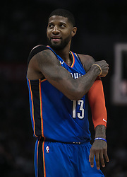 March 8, 2019 - Los Angeles, California, United States of America - Paul George #13 of the Oklahoma Thunder  during their NBA game with the Los Angeles Clippers on Friday March 8, 2019 at the Staples Center in Los Angeles, California. Clippers defeat Thunder, 118-110.  JAVIER ROJAS/PI (Credit Image: © Prensa Internacional via ZUMA Wire)
