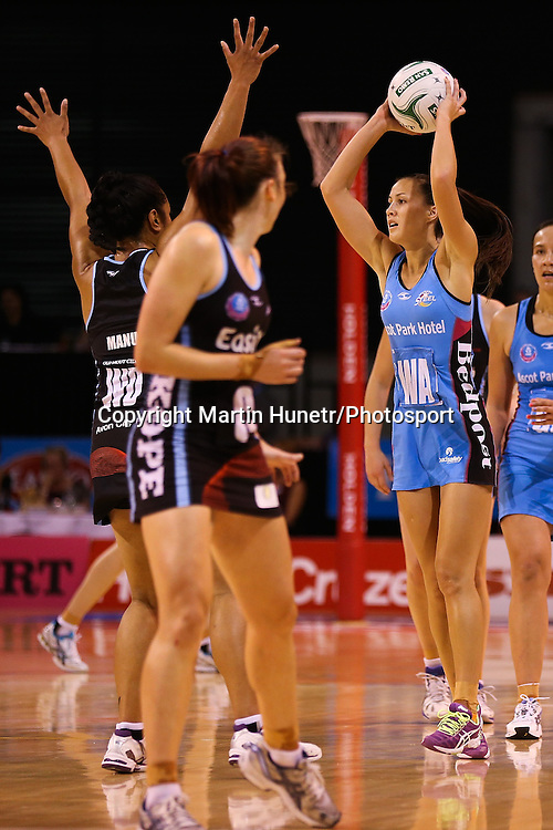 Courtney Tairi of Southern Steel looks to pass during the ANZ Netball Championship, Easiyo Tactix v Southern Steel at CBS Arena, Christchurch, New Zealand. Saturday 30th March 2013. Photo: Martin Hunter/ Photosport.co.nz