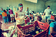 "Polistena (Reggio Calabria). A group of volunteers working during a summer camp organized by the Association ""Libera"" on the agricultural lands confiscated to the 'Ndrangheta. These lands have been assigned to the Cooperative ""La Valle del Marro"". During the last years, this cooperative has been suffering many threatening acts because of its commitment in social agriculture and legality."