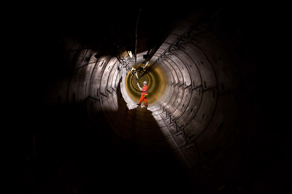 Engineer inspecting the Croydon Cable tunnel.