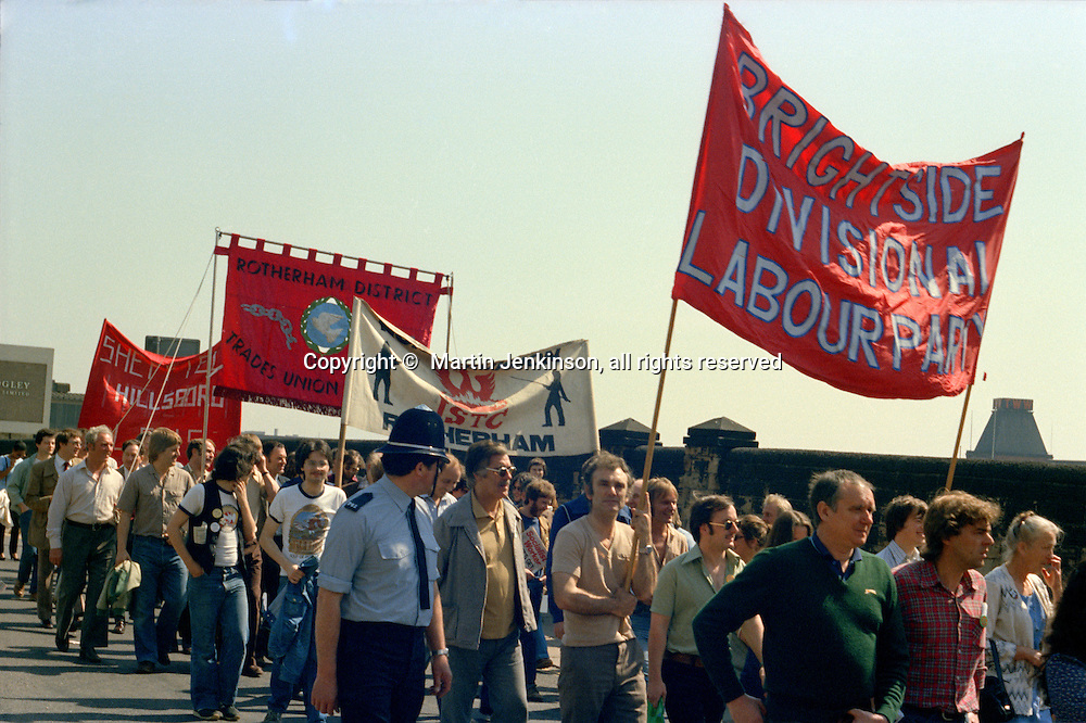 March against anti trade union legislation. Sheffield 1980.
