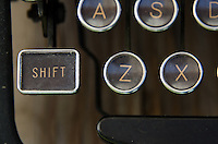 "Close-up of vintage typewriter ""shift"" key."
