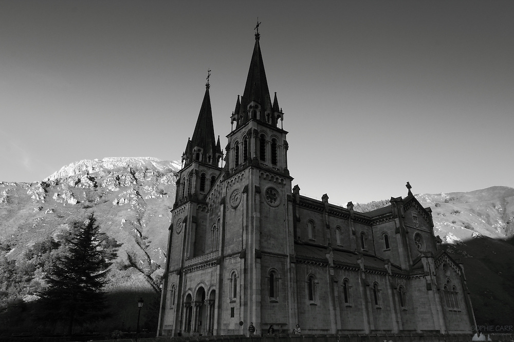 The Basilica of Covadonga, a church in the foothills of the Picos de Europa, famous for the Iberian Christians winning a namesake battle over the Moors in 722 AD.